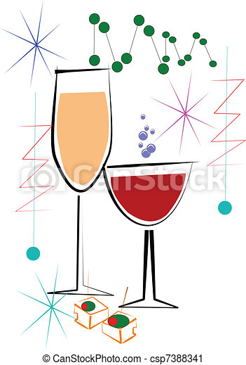 Vector Clip Art of wine and cheese - glasses of wine with cheese ...