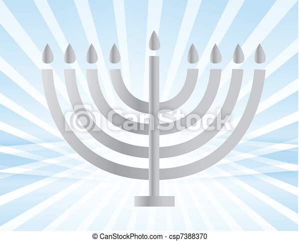 silver Menorah illustration design  - csp7388370