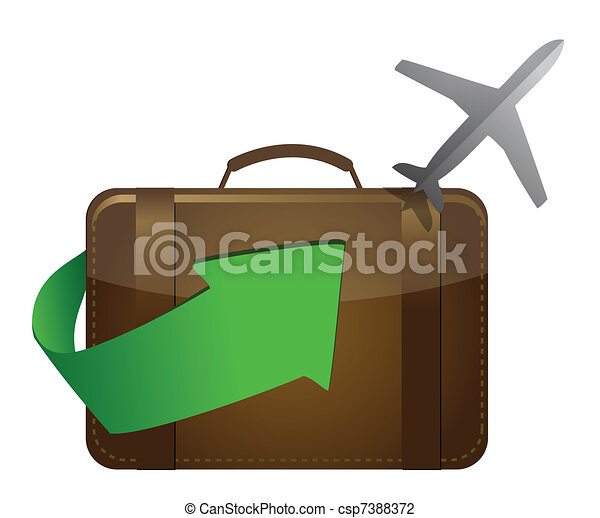 airliner and suitcase on white - csp7388372