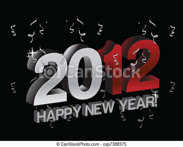 happy new year 2012 with confetti - csp7388375