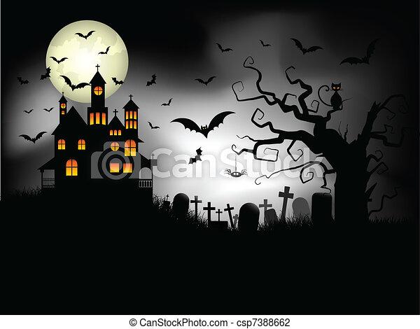 Spooky Halloween background - csp7388662