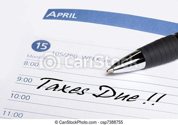 Taxes Due Datebook Reminder - csp7388755