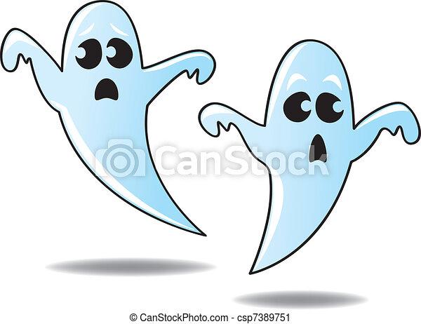 Vector Clip Art de caricatura, fantasmas - dos, divertido, lindo ...