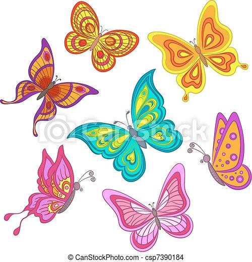 EPS vector de Conjunto, mariposas - Conjunto, vario, Color ...
