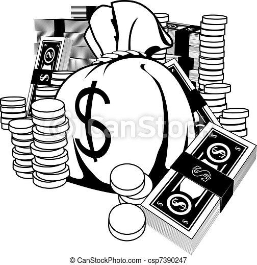 Black and white illustration of cash - csp7390247