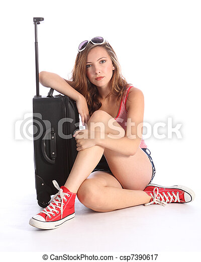 Picture Of Pretty Teenager Girl Packed Waiting With