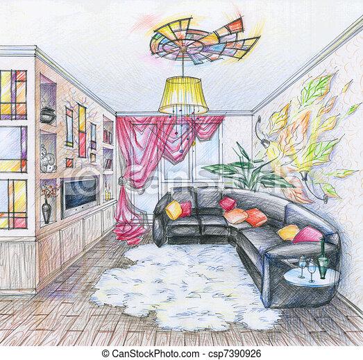 Stock illustration von inneneinrichtung lebensunterhalt for Sofa zeichnen