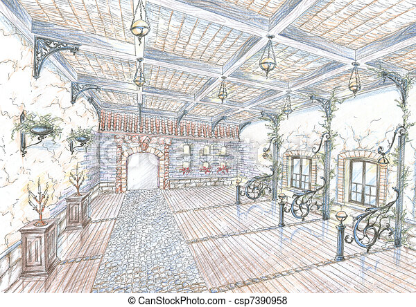 Sketch of restaurant hall in style of city street - csp7390958