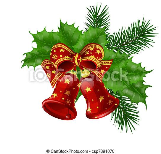 vektor clipart von weihnachten glocken mit geschenkband. Black Bedroom Furniture Sets. Home Design Ideas