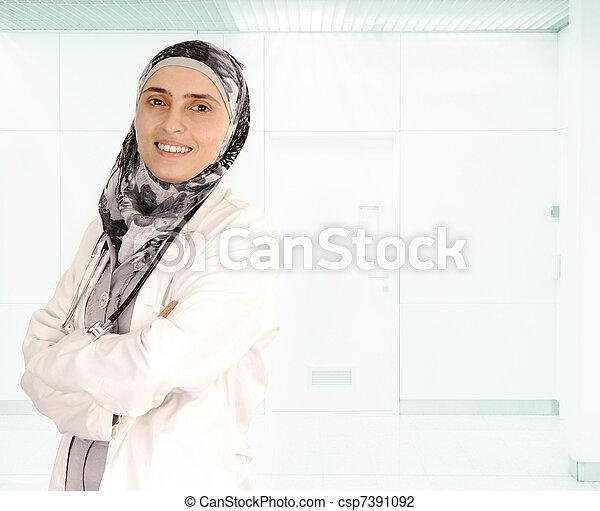 Muslim female doctor in hospital - csp7391092