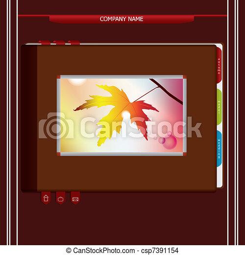 Vector design website template in form of books and portfolios - csp7391154