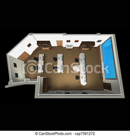 Banco de ilustra o 3d vista esquema escrit rio for Sala de estar 3x5