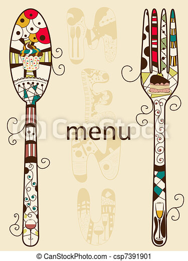Vector Clip Art of Menu - Vector menu pattern with spoon and fork ...