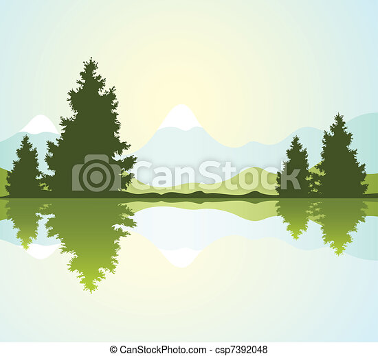 silhouettes of fur-trees and mountains - csp7392048