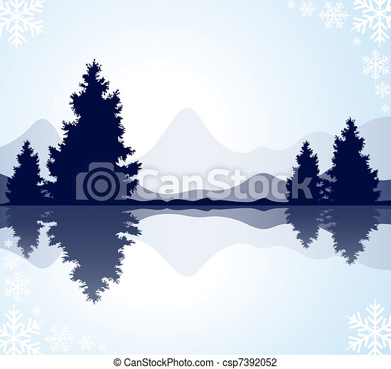silhouettes of fur-trees and mountains - csp7392052