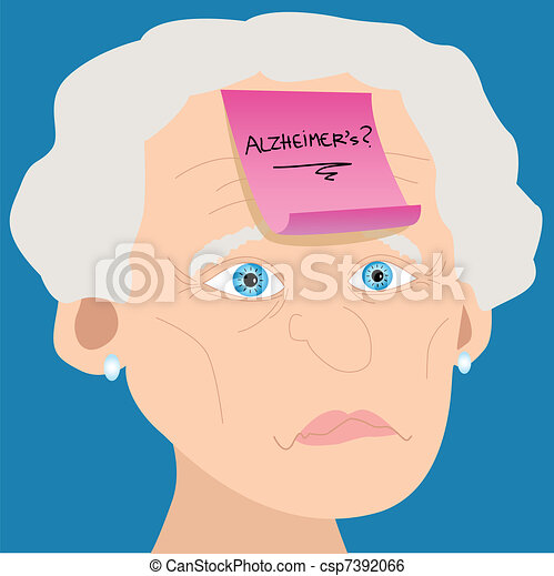 Senior woman with Alzheimer sticky note - csp7392066