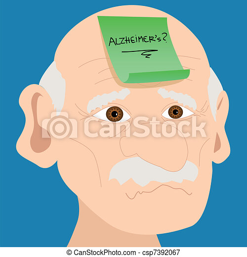 Senior man with Alzheimer sticky note - csp7392067