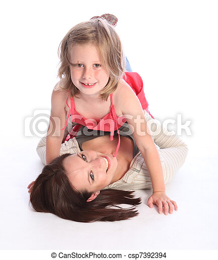 Laughter and excitement for mother with daughter - csp7392394