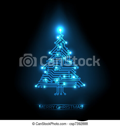 Vector christmas tree from digital circuit - csp7392888