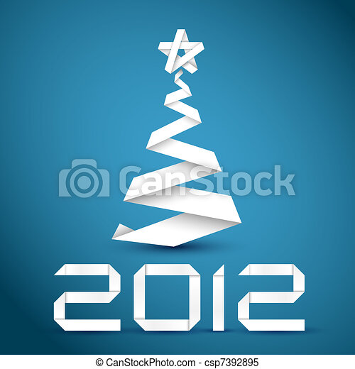 Simple vector christmas tree made from white paper stripe - csp7392895