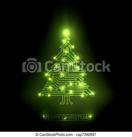 Vector christmas tree from digital circuit - csp7392897