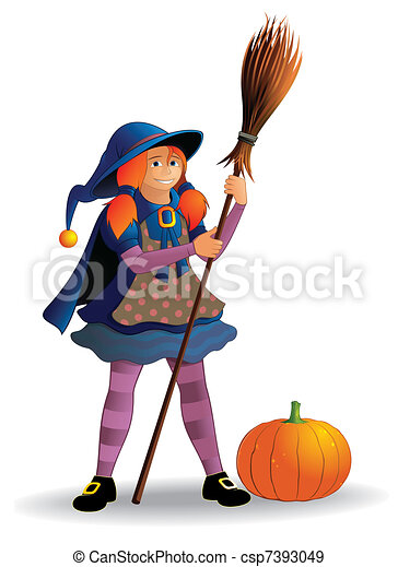 Girl in witch costume - csp7393049