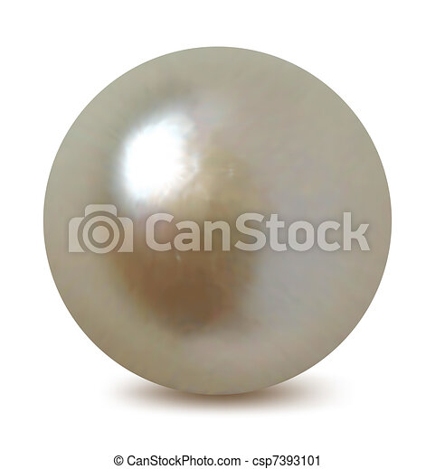 White pearl on a white background. Vector - csp7393101