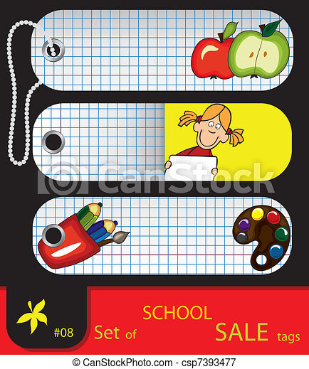 Vector set of price tags for school. - csp7393477
