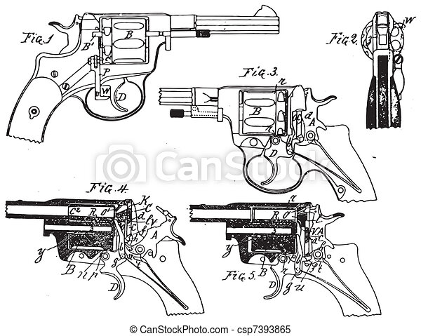 Vintage Colt Revolver Drawing - csp7393865
