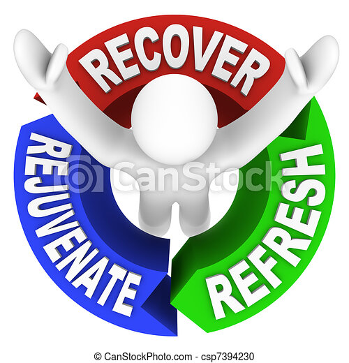 Recover Rejuvenate Refresh Words Self Help Therapy - csp7394230