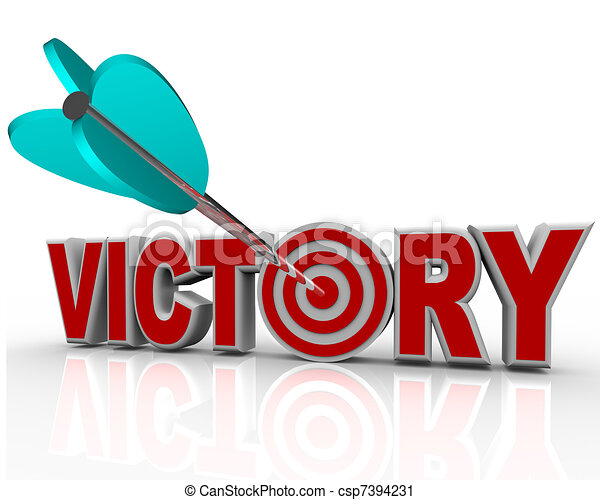 Victory Arrow in Word Succeed Triumph in Competition - csp7394231