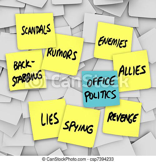 rumores, oficina, notas,  -, pegajoso, mentiras, política, chisme, Escándalo - csp7394233