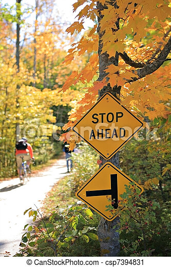 Stop Sign by the Bike Trail - csp7394831