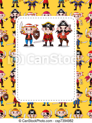 cartoon pirate card - csp7394982