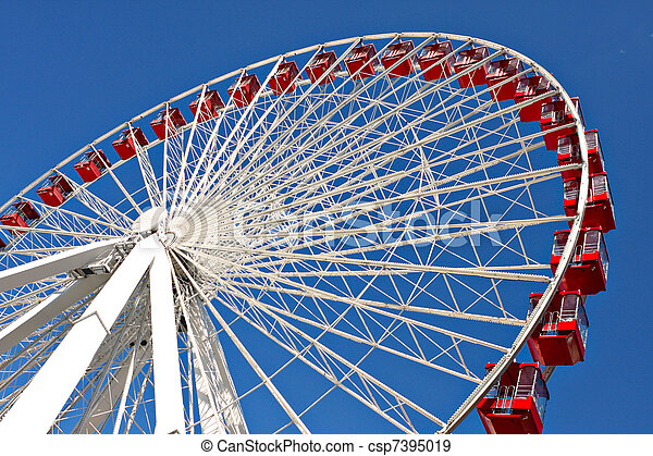 chicago navy pier giant ferris wheel close up - csp7395019