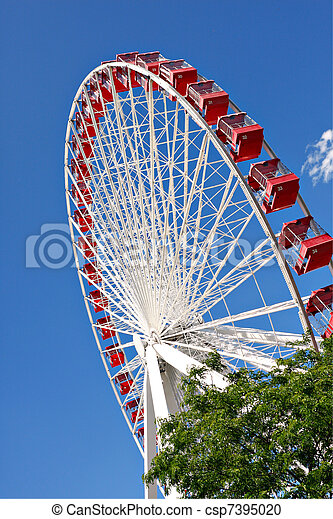 chicago navy pier ferris wheel close up - csp7395020