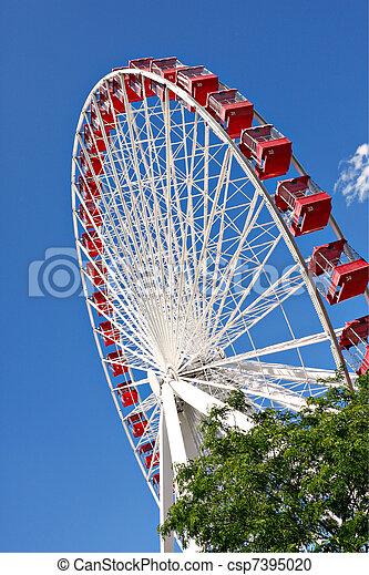 chicago navy pier ferris wheel close up - csp7395020
