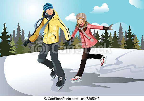 Young couple ice skating - csp7395043