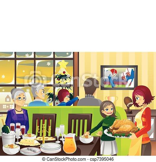 Thanksgiving family dinner - csp7395046