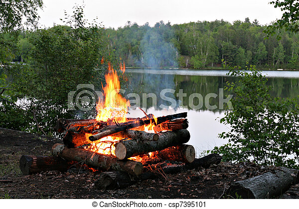 Campfire By the Lake - csp7395101