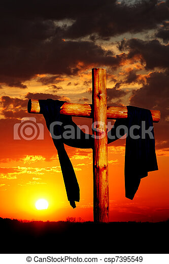 Wooden Cross on Sunset - csp7395549