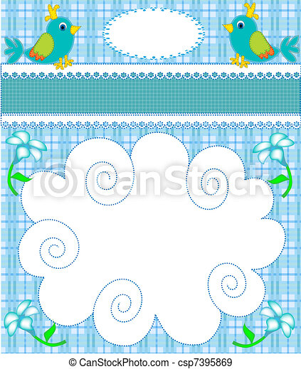 nursery card of the announcement with bird - csp7395869