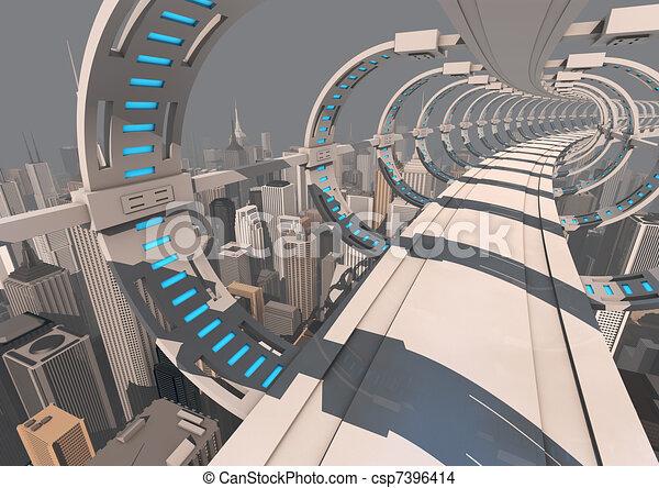 Futuristic City Drawing Futuristic City Bridge