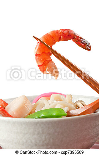 Seafood Udon Noodle Soup, Popular Japanese Dish - csp7396509