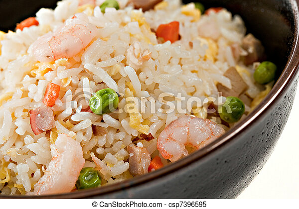 Closeup Bowl of Shrimp Stir Fry Rice - csp7396595