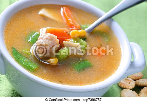 Bowl of Chicken Noodle Soup - csp7396757