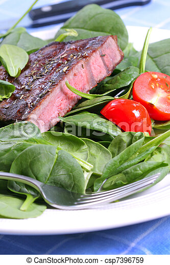 Grilled Beef Ribeye Steak with Spinach - csp7396759