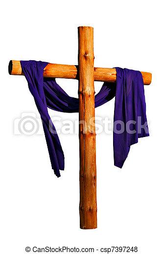 Wooden Cross Isolated - csp7397248