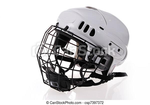 white hockey helmet  - csp7397372