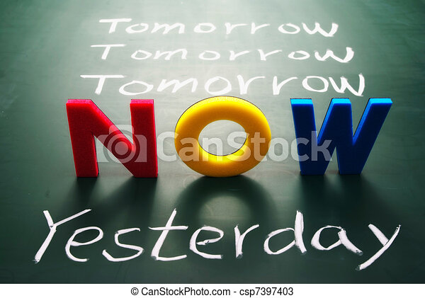 Now, yesterday, and tomorrow words on blackboard - csp7397403